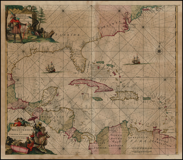 42-Florida, South, Southeast, Caribbean and Central America Map By Frederick De Wit
