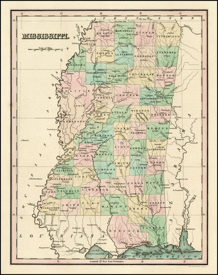 48-South and Mississippi Map By Thomas Gamaliel Bradford