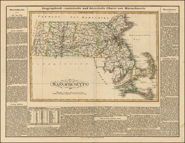 80-Massachusetts Map By Carl Ferdinand Weiland