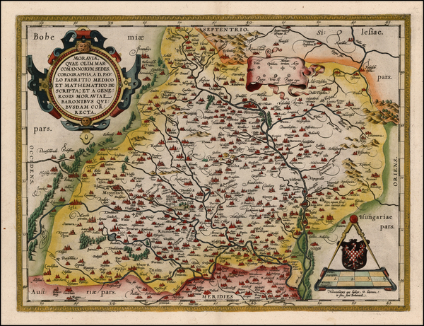 61-Austria, Poland and Czech Republic & Slovakia Map By Abraham Ortelius