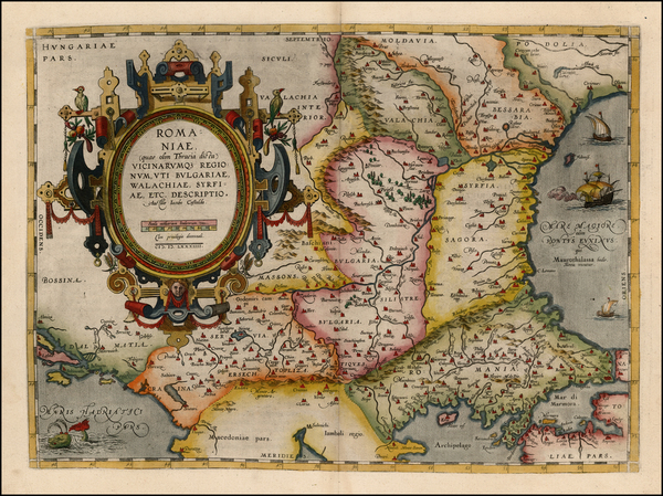 45-Ukraine, Romania and Balkans Map By Abraham Ortelius