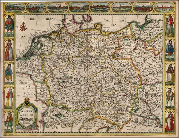 59-Switzerland, Germany, Austria, Poland and Czech Republic & Slovakia Map By John Speed