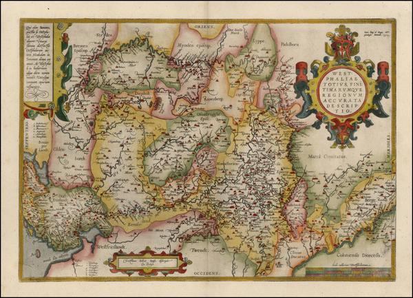 67-Netherlands and Germany Map By Abraham Ortelius