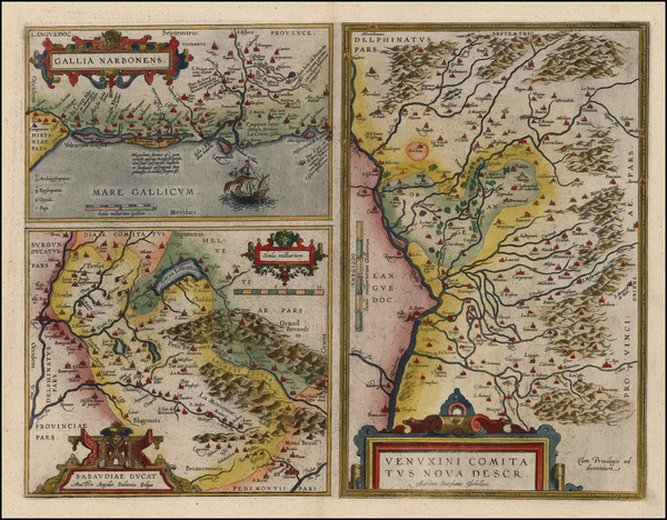 1-France and Italy Map By Abraham Ortelius