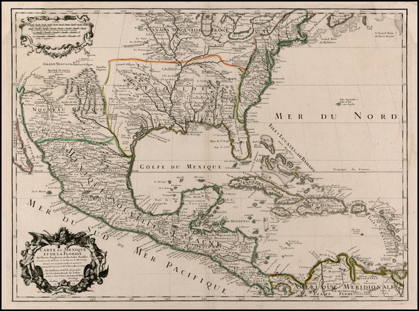 55-Southeast, Texas, Midwest, Southwest and Rocky Mountains Map By Guillaume De L'Isle