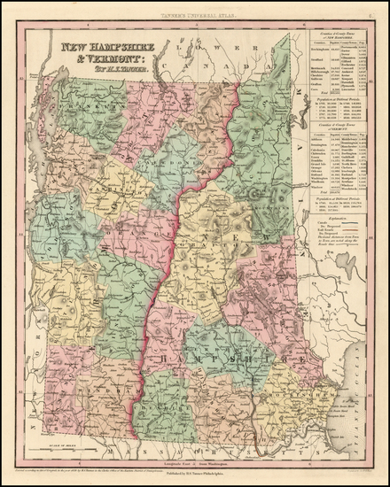 43-New England, New Hampshire and Vermont Map By Henry Schenk Tanner