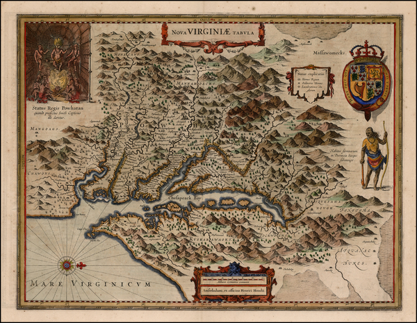 47-Mid-Atlantic and Southeast Map By Henricus Hondius