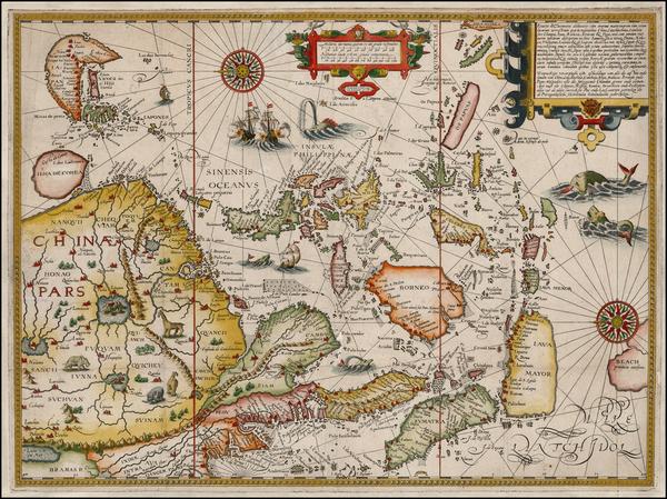 75-China, Japan, Korea, Southeast Asia and Philippines Map By Jan Huygen Van Linschoten
