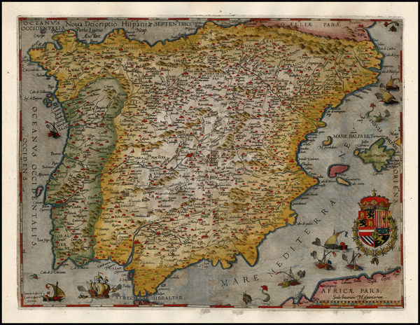 40-Spain and Portugal Map By Cornelis de Jode