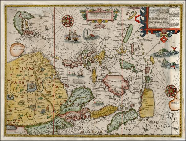 74-China, Japan, Korea, Southeast Asia and Philippines Map By Jan Huygen Van Linschoten