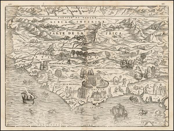3-North Africa and West Africa Map By Giovanni Battista Ramusio / Giacomo Gastaldi