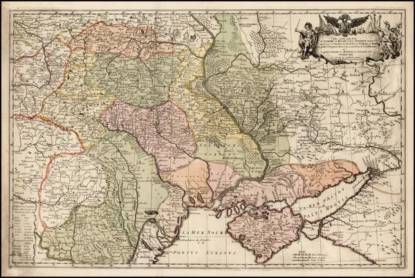 7-Poland, Russia, Ukraine, Romania, Baltic Countries and Balkans Map By Johann Gottlieb Facius  &
