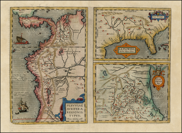 49-South, Southeast, Central America and South America Map By Abraham Ortelius