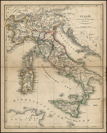 52-Italy Map By A. Baedeker / Otto Petri