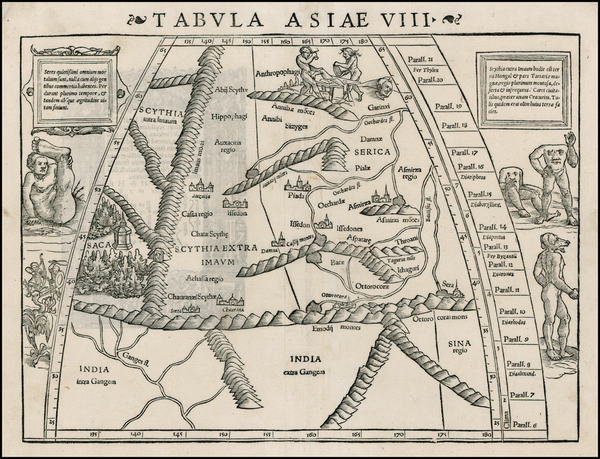 48-India, Central Asia & Caucasus and Curiosities Map By Sebastian Munster