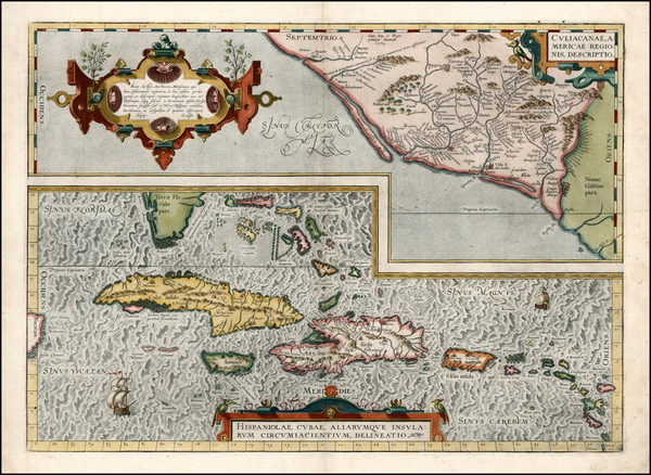 21-Southeast, Mexico and Caribbean Map By Abraham Ortelius