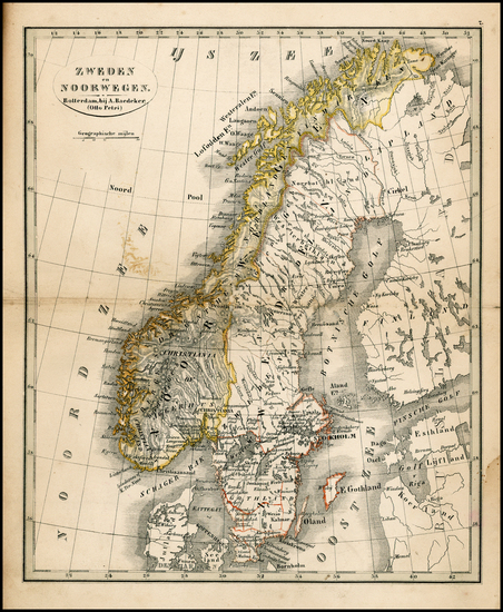9-Scandinavia Map By A. Baedeker / Otto Petri
