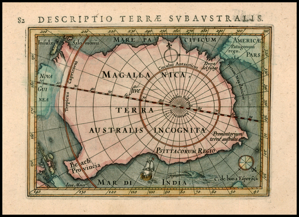 54-Southern Hemisphere, Polar Maps and Australia Map By Petrus Bertius
