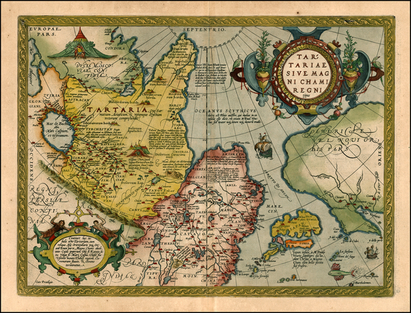 67-Asia, Japan, Central Asia & Caucasus and California Map By Abraham Ortelius
