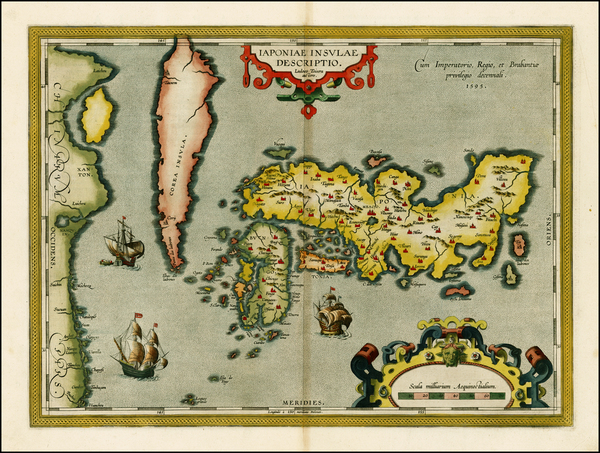 22-Japan and Korea Map By Abraham Ortelius