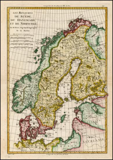 94-Baltic Countries and Scandinavia Map By Rigobert Bonne