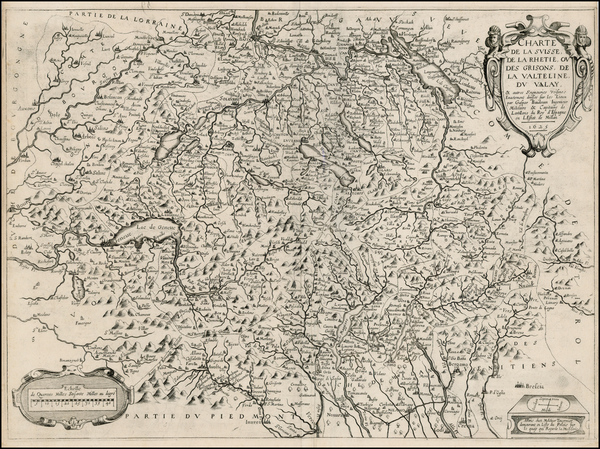 34-Switzerland and Italy Map By Melchior Tavernier