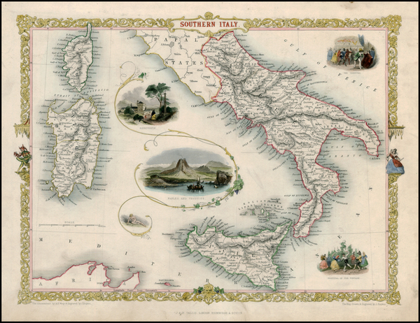 33-Italy, Mediterranean and Balearic Islands Map By John Tallis