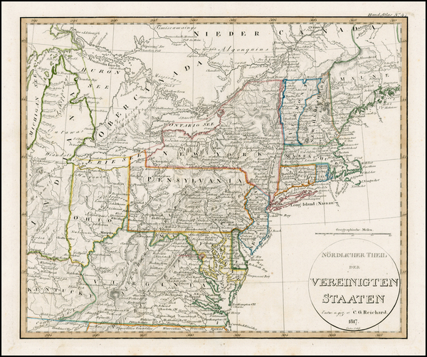 69-United States, Mid-Atlantic and Midwest Map By Adolf Stieler