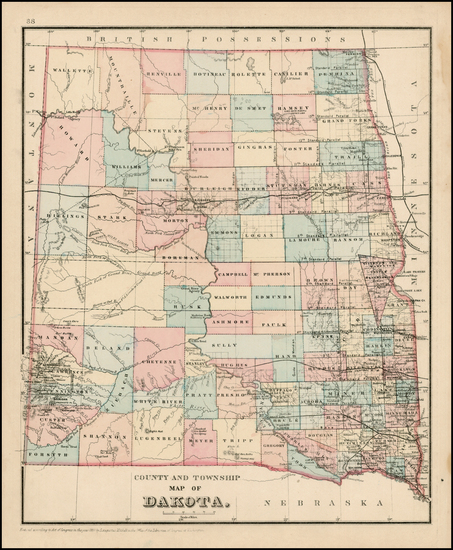 86-Plains, North Dakota and South Dakota Map By Samuel Augustus Mitchell Jr.