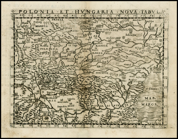 58-Poland, Hungary, Baltic Countries and Balkans Map By Giacomo Gastaldi