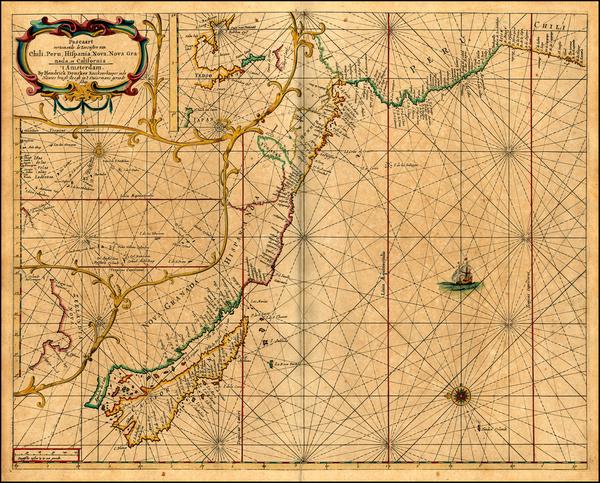 42-South America, Australia & Oceania, New Zealand and California Map By Hendrick Doncker