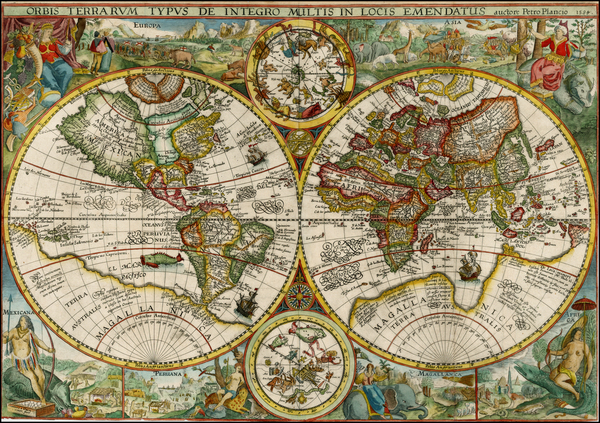 30-World, World, Curiosities and Celestial Maps Map By Petrus Plancius