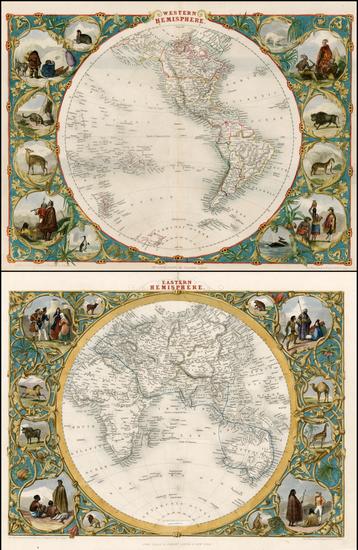 1-World, Eastern Hemisphere, Western Hemisphere, South America and America Map By John Tallis