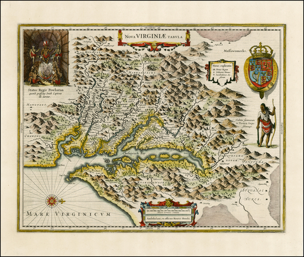 100-Mid-Atlantic and Southeast Map By Henricus Hondius
