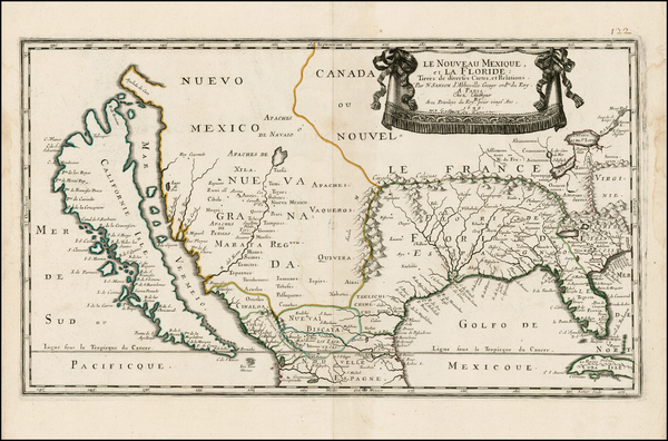 73-Florida, Southeast, Texas, Midwest, Southwest and California Map By Nicolas Sanson