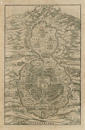 28-Mexico Map By Giovanni Battista Ramusio