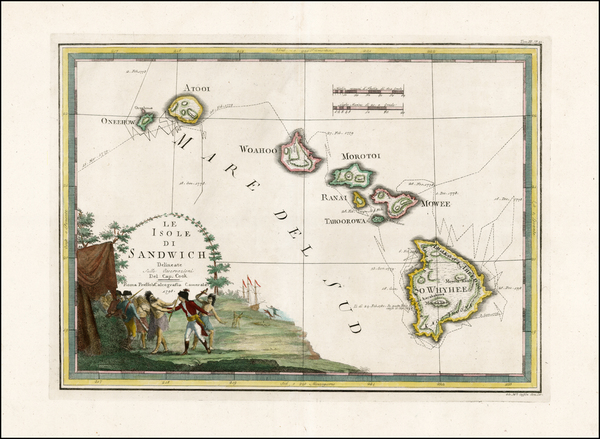 81-Hawaii, Hawaii and Other Pacific Islands Map By Giovanni Maria Cassini