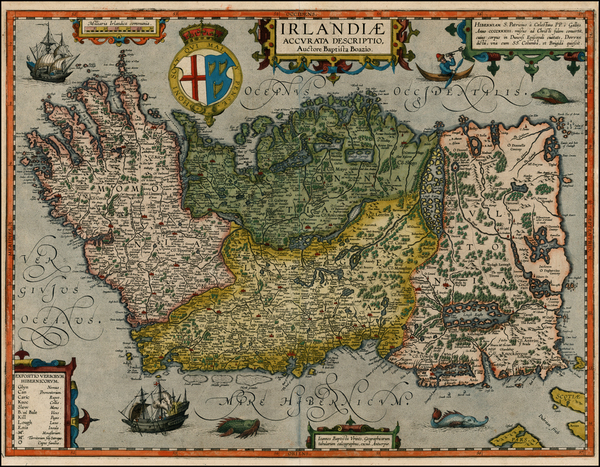 52-British Isles, Ireland and Balearic Islands Map By Abraham Ortelius / Johannes Baptista Vrients