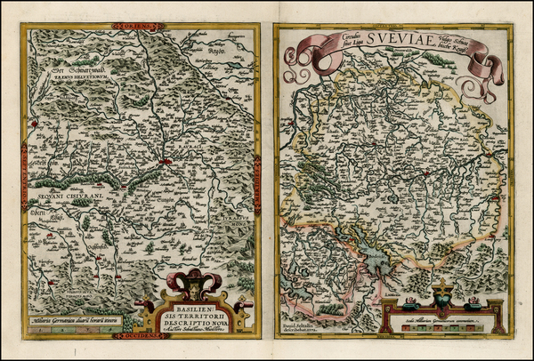 35-Switzerland and Germany Map By Abraham Ortelius