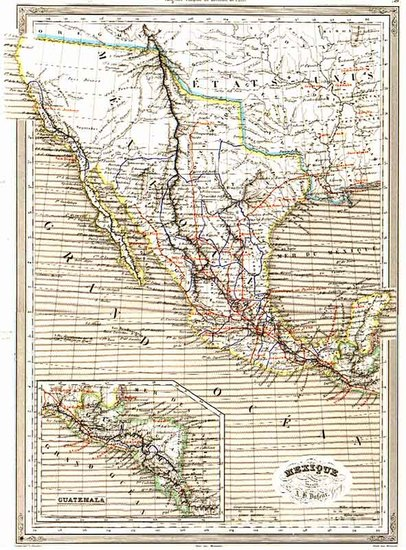 70-Texas, Southwest, Mexico and California Map By Adolphe Hippolyte Dufour
