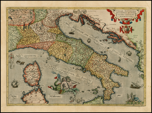 38-Italy, Mediterranean and Balearic Islands Map By Abraham Ortelius
