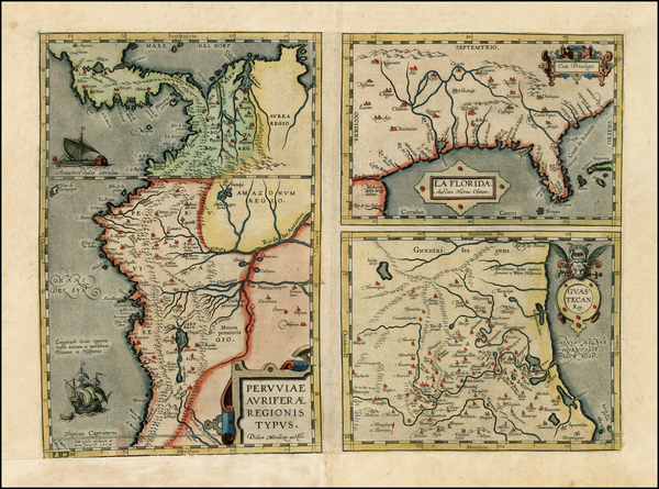 50-South, Southeast, Central America and South America Map By Abraham Ortelius