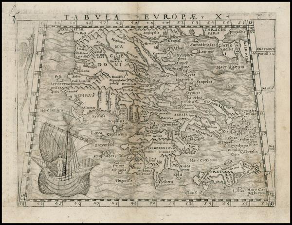 3-Greece and Balearic Islands Map By Giacomo Gastaldi