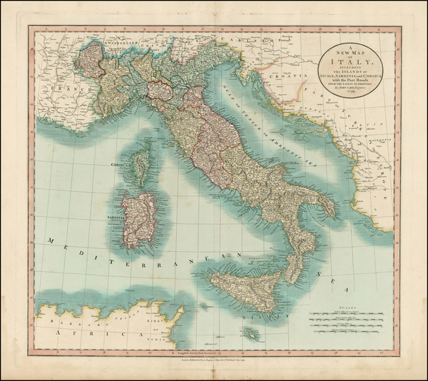 54-Italy, Mediterranean and Balearic Islands Map By John Cary