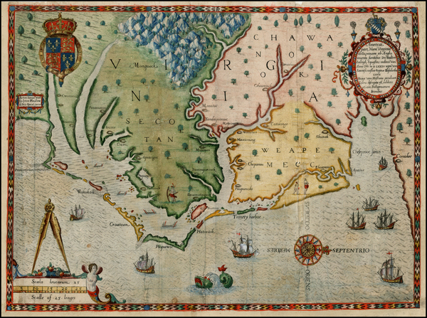 71-Mid-Atlantic and Southeast Map By Theodor De Bry / John White