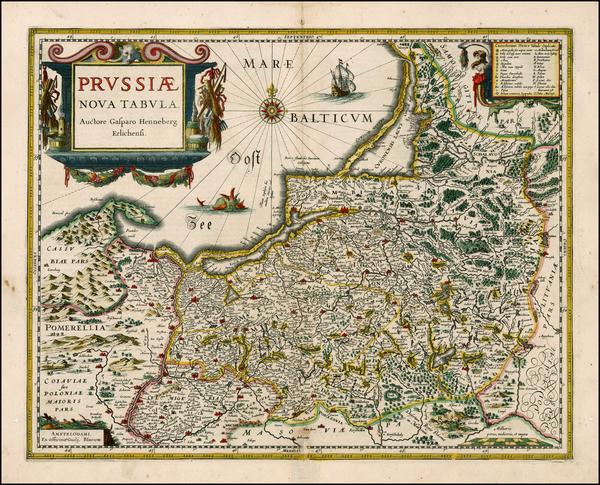10-Germany, Poland and Baltic Countries Map By Willem Janszoon Blaeu