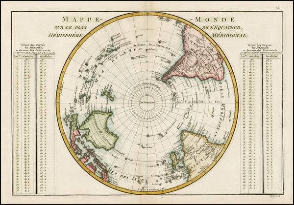 29-Southern Hemisphere, Polar Maps and Oceania Map By Rigobert Bonne