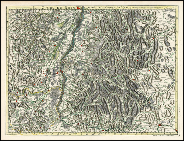 58-Switzerland, France and Germany Map By Guillaume De L'Isle