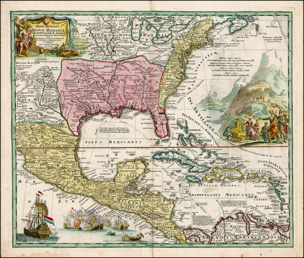 0-United States, South, Southeast, Texas, Midwest and Southwest Map By Johann Baptist Homann