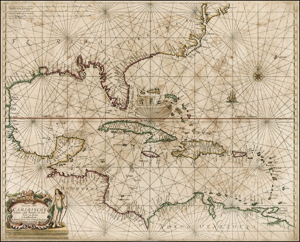 99-United States, Mid-Atlantic, Florida, Southeast, Texas, Caribbean and Central America Map By He